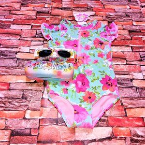 Hula Star NWT 4T Girls 1 Piece Swimsuit Sunglasses